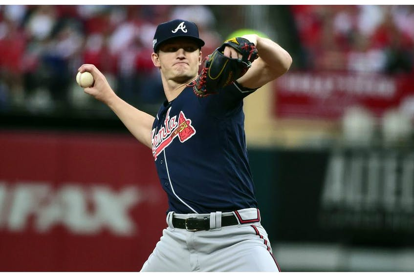 Oct 6, 2019; St. Louis, MO, USA; Atlanta Braves starting pitcher Mike Soroka (40) throws against the St. Louis Cardinals during the seventh inning in game three of the 2019 NLDS playoff baseball series at Busch Stadium.