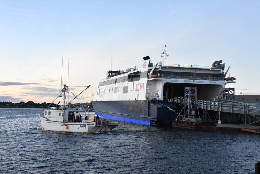 The Cat ferry sits docked at the ferry terminal in Yarmouth during a previous season. TINA COMEAU PHOTO