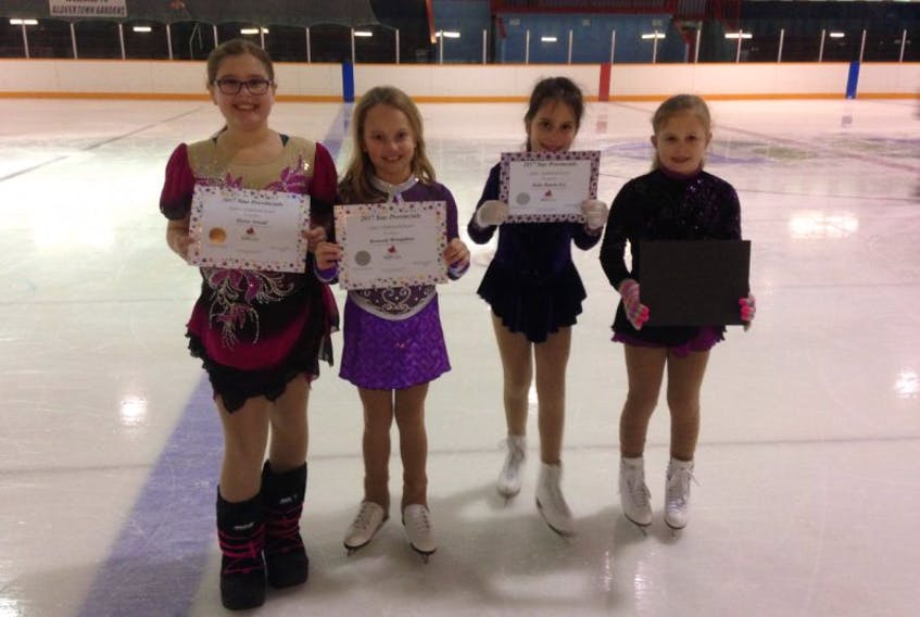 Four members of the Terra Nova Tornados received certificates for competing in the Skate Canada NL Star provincials in Corner Brook on Feb. 11.  Pictured (from left) are Alyssa Arnold, Kennedy Broughton, Katie Benoit-Fry and Summer West.