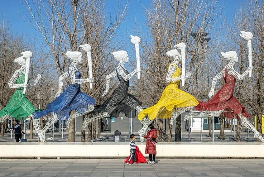 Beijing Olympic Park 365 days before the planned start of the 2022 Beijing Winter Olympics, in Beijing, China, February 4, 2021.