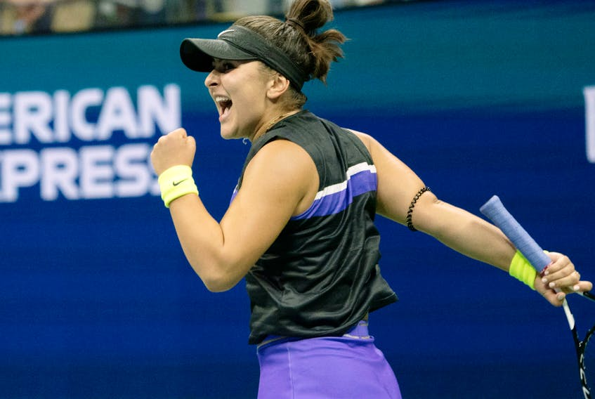 Bianca Andreescu of Canada celebrates a point while playing Taylor Townsend of the U.S. during their Round Four Women's Singles match at the 2019 U.S. Open at the USTA Billie Jean King National Tennis Center in New York on September 2, 2019.
