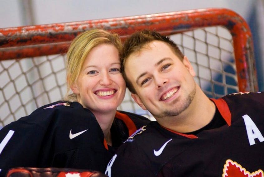 Sami Jo Smal, left, and Billy Bridges strive to make each other better on and off the ice.