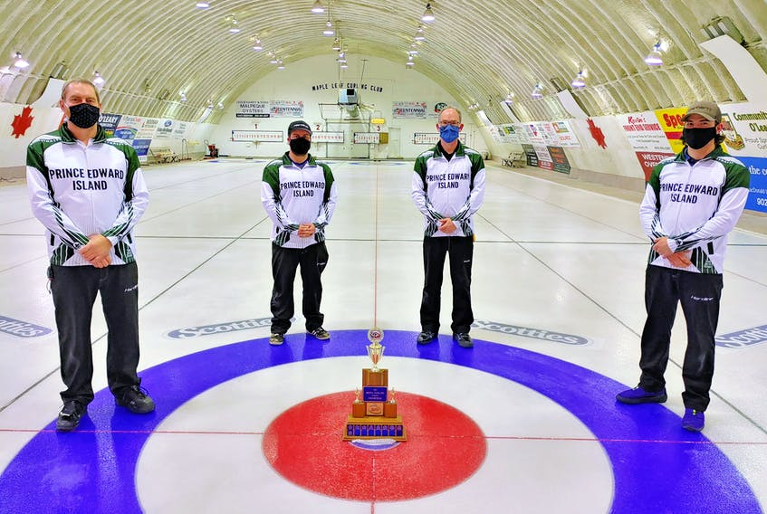 The Eddie MacKenzie team from the Crapaud and Montague clubs captured the 2021 Tankard P.E.I. men's curling championship in O'Leary on Saturday. Members of the winning rink are, from left, MacKenzie, third Tyler Smith, second Sean Ledgerwood and lead Ryan Lowery.