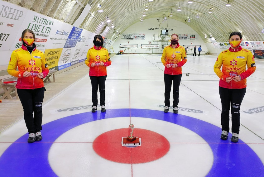 The Suzanne Birt rink from the Cornwall and Montague clubs won the 2021 Scotties P.E.I. women's curling championship in O'Leary on Saturday. Team Birt members are, from left, Birt, alternate Kathy O'Rourke, who filled in for third stone Marie Christianson in the provincial championship; second Meaghan Hughes, and lead Michelle McQuaid.