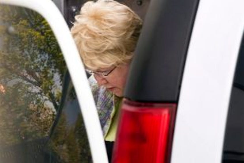 """['Melissa Ann Shepard arrives at Supreme Court in Sydney, N.S., for her sentencing hearing on Tuesday, June 11, 2013. Shepard, the 78-year-old woman dubbed the """"Black Widow"""", pleaded guilty to administering a noxious thing and failing to provide the necessities of life for drugging a man she had married days earlier.']"""