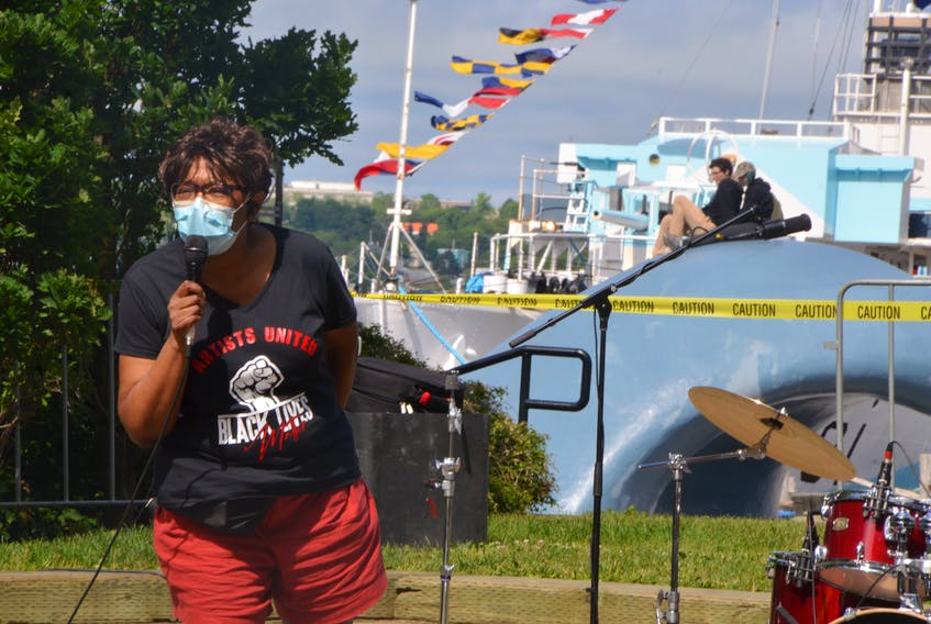 Charla Williams MC'd the Artists United: A Rally to Support the Black Lives Movement on Halifax's waterfront on Saturday afternoon.- Aaron Beswick
