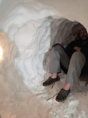 Mark Pardy in the wall of snow outside his St. John's apartment door. CONTRIBUTED