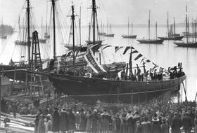 The Bluenose is launched in Lunenburg on March 26, 1921. - W.R. MacAskill
