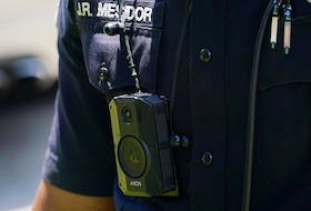 A body camera is seen on an Atlanta Police Department officer on June 18, 2020.