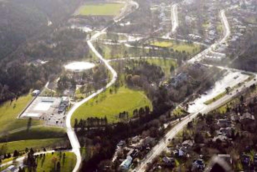 ['Bowring Park as seen a few hundred feet above St. John's while flying towards Kilbride.<br /><br />']