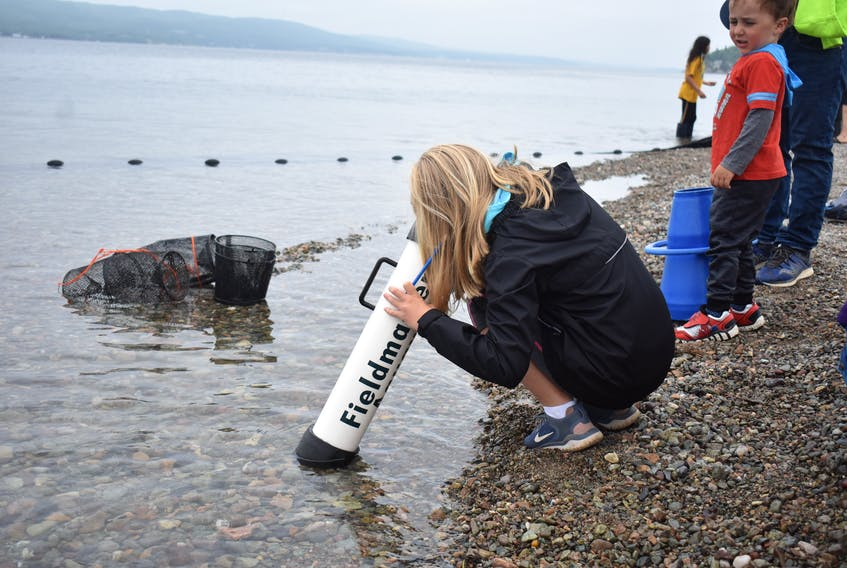 Breagh Dolan from Sydney explores fish using a special tool during Bras d'Or Watch 2019. NICOLE SULLIVAN/CAPE BRETON POST
