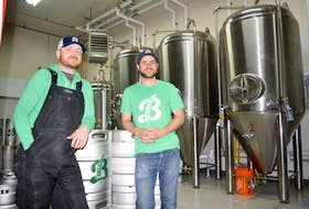 Andrew Morrow, left, and Bryan MacDonald, are the co-owners of Breton Brewing Co. on Keltic Drive. The microbrewery opens on Saturday.