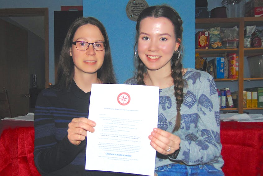 Becky Foster (left) and Shawna White, of Bridgetown Community School, have been awarded $5,000 scholarships by the Horatio Alger Association of Canada to be used for first-year university. — Contributed photo
