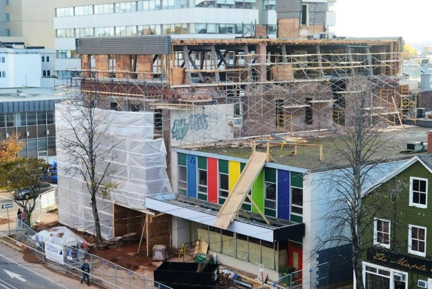 <span>With old man winter closing in, work continues on a landmark downtown Charlottetown building owned by developer Chris Tweel. It is located at the corner of Kent and University.<br /></span>