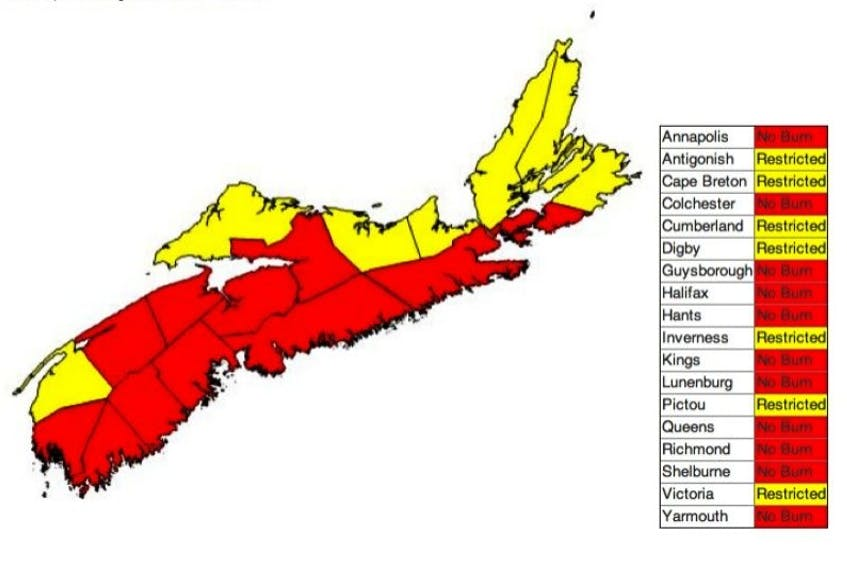 There are burning restrictions across Nova Scotia today (Wednesday, Aug. 27)