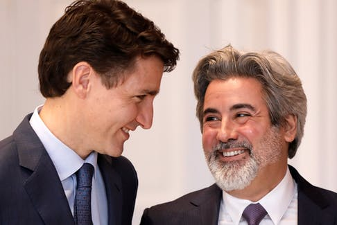 MP Pablo Rodriguez with Prime Minister Justin Trudeau after being sworn-in as government house leader, Nov 20, 2019. Rodriguez will also serve as Trudeau's Quebec lieutenant.