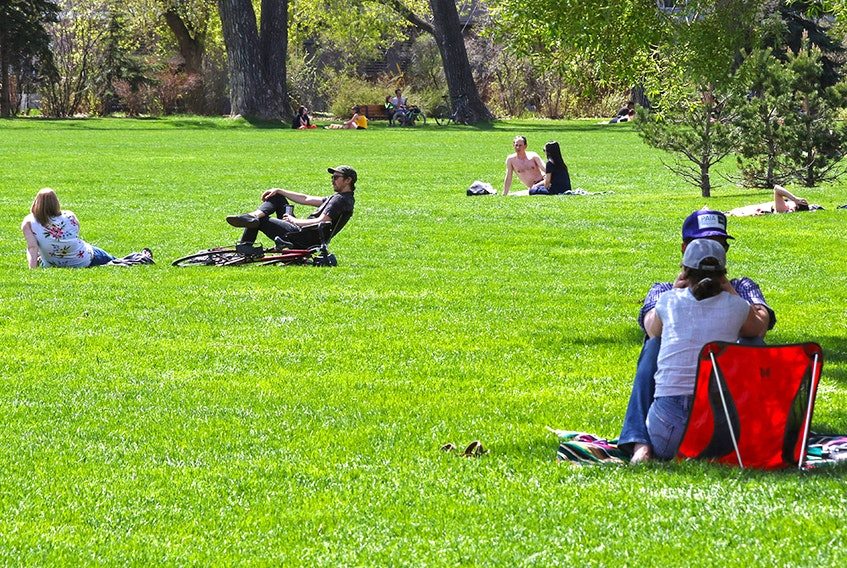 There was lots of room for physical distancing in the sun at Riley Park in Calgary on Sunday, May 24, 2020.
