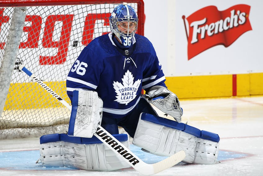 Maple Leafs goaltender Jack Campbell will start is getting his first start for the Maple Leafs since Feb. 15. Toronto is playing the Sharks in San Jose on Tuesday night. (Claus Andersen/Getty Images)