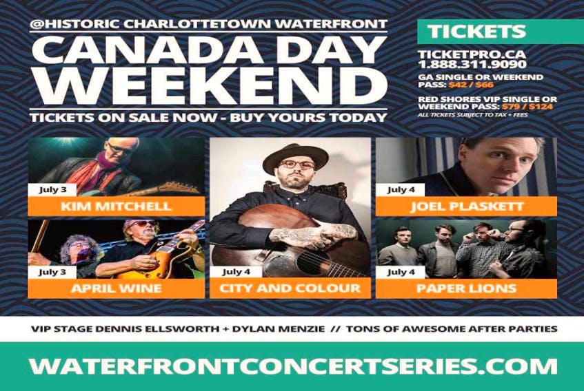 Waterfront Concert Series in Charlottetown, July 3-4.