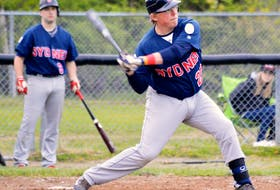 Sean Ferguson is shown in action with the Sydney Sooners after returning to the ball field following a cardiac arrest he suffered in the spring of 2016. DAVID JALA • CAPE BRETON POST