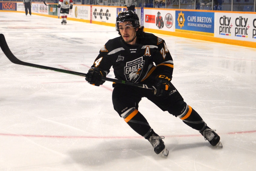 Ryan Francis of the Cape Breton Eagles is ranked No. 55 overall among North American skaters for the 2020 NHL Entry Draft. The Beaver Bank, N.S., product enters the draft coming off a breakout year where he recorded 24 goals and 72 points in 61 games during the 2019-20 Quebec Major Junior Hockey League season. JEREMY FRASER • CAPE BRETON POST