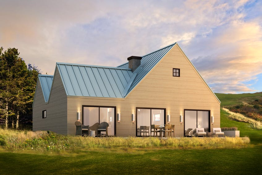Rendering of a three-bedroom house in the just-launched Cabot Cliffs residential Hillside Homes development. CONTRIBUTED