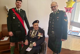 The Cape Breton Highlanders regiment joined family and friends in celebrating Fred Arsenault's 100th birthday at the Sunnybrook Veterans Centre in Toronto on Thursday. With Arsenault is Sgt. Zach Glazer, left, and Cpl. Murray MacKenzie, two members of the Cape Breton Highlanders who presented him with a card signed by members of the regiment. Earlier this year, Arsenault said he wanted to receive 100 cards for his 100th birthday. His request went viral and he ended up receiving more than 90,000 cards. Arsenault fought in Europe during the Second World War as a member of the Cape Breton-based Canadian Army Reserve regiment. He originally was a member of the Prince Edward Island Highlanders but he was placed with the Cape Breton Highlanders in theatre purely out of battlefield necessity. CONTRIBUTED/DEPARTMENT OF NATIONAL DEFENCE