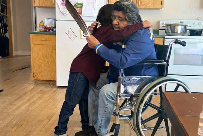 New friends Linden Lafford of Potlotek and Stephen Christmas of Eskasoni met for the first time this past weekend. Christmas sent a message of support to Lafford after his mother made a Facebook post detailing an incident in which an adult male and his young companion bullied Lafford for his long hair. CONTRIBUTED