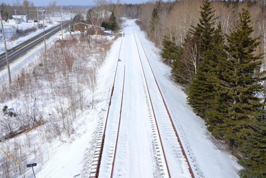 This set of tracks running parallel to Keltic Drive have not been utilized since 2015. The tracks are part of the abandoned Cape Breton and Central Nova Scotia Railway that proponents of a proposed Sydney harbour container port say are essential to the project moving ahead. DAVID JALA/CAPE BRETON POST
