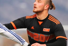 Peter Schaale is shown in action with the Cape Breton University Capers soccer team in this file photo. Schaale is one of three nominees for the AUS male athlete of the year. The German defender is the two-time defending AUS men's soccer most valuable player. U SPORTS PHOTO