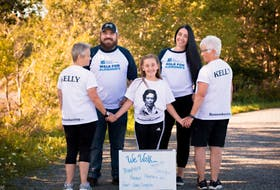 Members of the walk team — Evelyn's Echo's — who walk in memory of Evelyn Kelly gathered before social distancing measures were put in place. Members of Kelly's family including daughter-in-law, Deb Murray, grandson, Chad Green, great-granddaughter, Sophie Green, granddaughter-in-law, Chelsea Green and daughter, Sandra Kelly. Contributed/White Photography