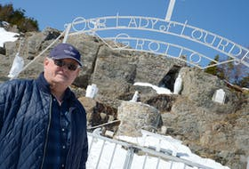 Dan Kavanagh, chair of the finance committee for St. Agnes' and St. Michael's Parish in Pouch Cove and Flatrock, stands near the Our Lady of Lourdes Grotto in Flatrock.  Keith Gosse/The Telegram