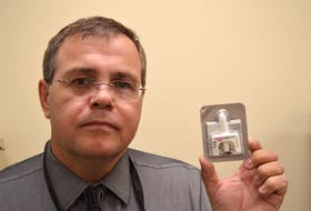 Staff Sgt. Paul Muise holds one of the Naloxone nasal spray kits that have been distributed to members of the Cape Breton Regional Police service. To date, about 185 of the service's 202 officers have been trained to use the kits, both for their own protection in responding to crime scenes and in dealing with suspected opioid overdoses, with the arrival of fentanyl in the region.