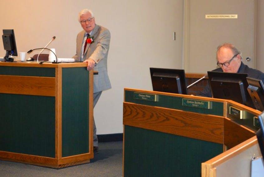 Cape Breton Regional Municipality planning director Malcolm Gillis addresses council Tuesday night.