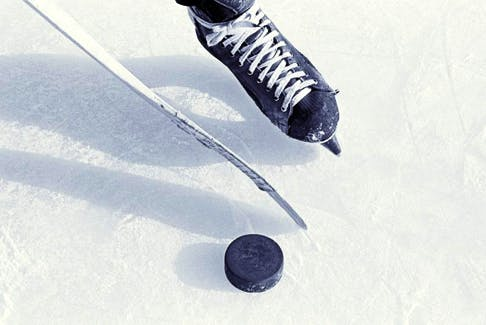 Hokey skate , puck , and stick