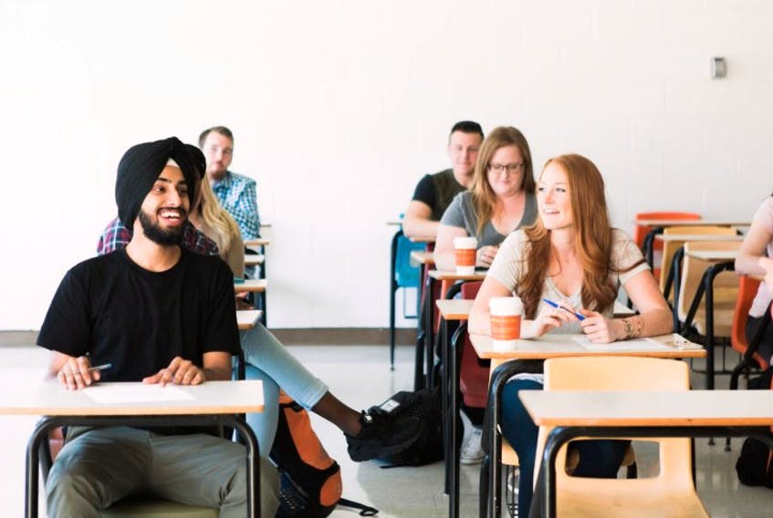 A group of students in class at Cape Breton University.