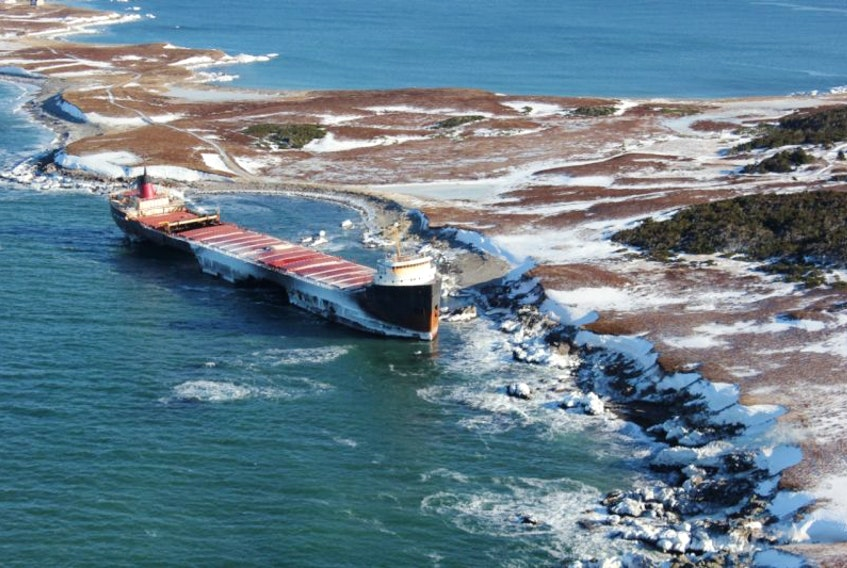 The MV Miner can be seen here off Scatarie Island. The Cape Breton Post recently received documents related to the $18.5-million cleanup of the wreck.