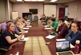 This file photograph from January 2016 shows the then-members of the CBRM's youth council during a meeting in the second-storey boardroom in Sydney's civic centre. The youth council is being revived and once members are appointed will meet bi-monthly in the regular council chambers at city hall. CAPE BRETON POST PHOTO