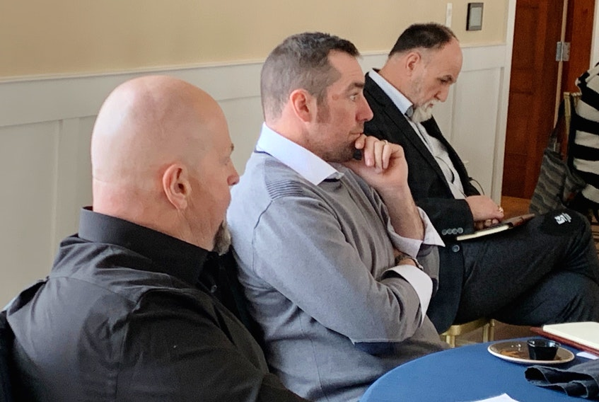 Cape Breton Regional Municipality mayor and council are holding a three-day strategic planning session at The Lakes in Ben Eoin. From left are councillors Gordon MacDonald, Glenn Paruch and Eldon MacDonald. IAN NATHANSON/CAPE BRETON POST
