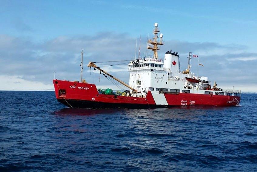 "<p class=""p1"">The&nbsp;CCGS Ann Harvey is shown&nbsp;near Burgeo Wednesday, April 1. The vessel was damaged when it struck bottom that morning.</p>"