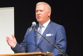 CBRM's incumbent mayor Cecil Clarke makes a point at a recent candidates forum. DAVID JALA/CAPE BRETON POST