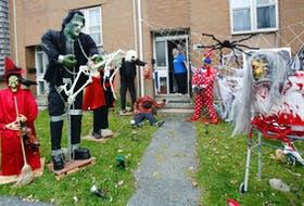 FOR HWEEN STORY: Gerry Fex is seen at the front door of his Wallace Heights home in Dartmouth Thursday October 29, 2020. Fex admits that Halloween is his favorite holiday.  TIM KROCHAK PHOTO