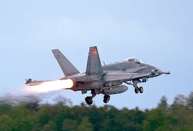 An RCAF CF-18 takes off from CFB Bagotville, Quebec.