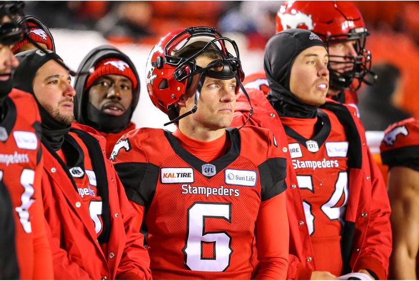 Calgary Stampeders Rob Maver in the final minutes of a 35-14 loss to the Winnipeg Blue Bombers in the 2019 CFL West Division semi final in Calgary on Sunday, November 10, 2019. Al Charest/Postmedia