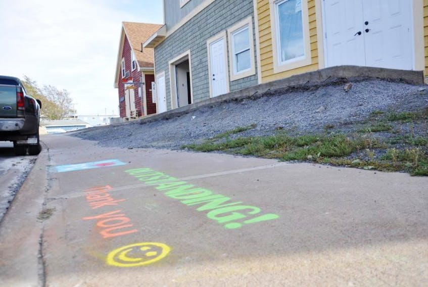 A chalk award in front of the Fisheries Museum in Pictou.