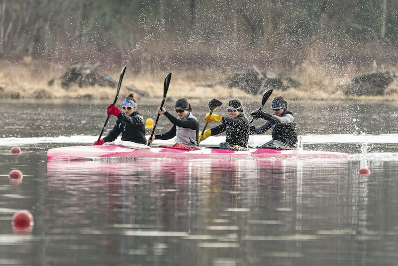 Andreanne Langlois of Trois-Rivieres, Alanna Bray-Lougheed of the Burloak Canoe Club, Cheema's Michelle Russell and Madeline Schmidt of the Rideau Canoe Club race in the K-4 500-metre final Friday in Burnaby, B.C. The crew qualified for the Tokyo Olympics.  - Rich Lam / Canoe Kayak Canada