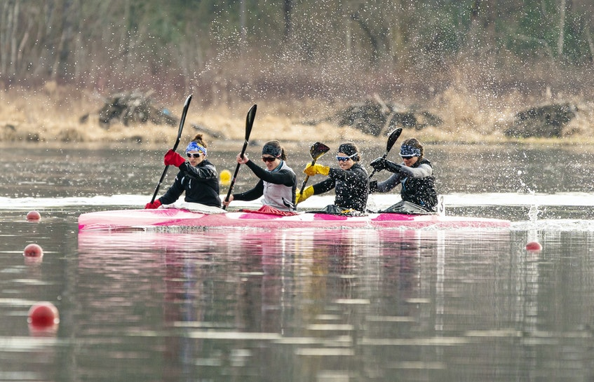 Andreanne Langlois of Trois-Rivieres, Alanna Bray-Lougheed of the Burloak Canoe Club, Cheema's Michelle Russell and Madeline Schmidt of the Rideau Canoe Club race in the K-4 500-metre final Friday in Burnaby, B.C. - Rich Lam / Canoe Kayak Canada - Contributed