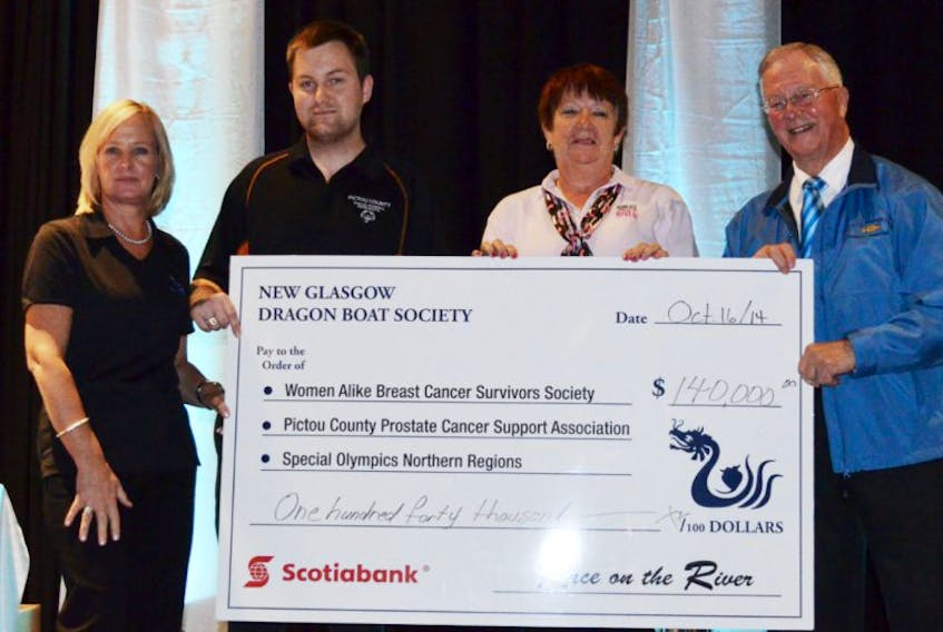 <p>Race on the River President Kim MacLaren, left, presents a cheque to Ryan Sharpe of the Pictou County Special Olympics, Women Alike President Faye Visser and Murray Gardner, president of the Pictou County Prostate Cancer Support Group at a special charity banquet at Glasgow Square on Oct. 16. The three charities received $140,000 from pledges, donations and gifts from the Race on the River dragon boat races, which took place on July 25 and 26.</p>