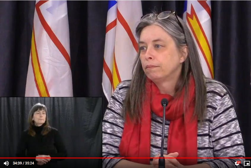 Newfoundland and Labrador Chief Medical Officer Dr. Janice Fitzgerald is shown on a YouTube feed taking reporters' questions about COVID-19 in St. John's Thursday. CONTRIBUTED PHOTO