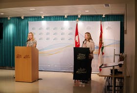 Chief health officer Dr. Heather Morrison, left, and chief of nursing Marion Dowling are shown during a media briefing on Monday in Charlottetown.